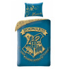 Harry Potter Hogwarts Crest Single Duvet Cover and Pillowcase Set Blue - European Size