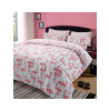 Flamingo and Chevron Double Duvet Cover and Pillowcase Set Grey Pink