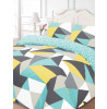 Shapes Geometric Double Duvet Cover and Pillowcase Set - Blue