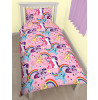 My Little Pony Party Single Duvet Cover and Pillowcase Set Reverse
