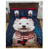 Christmas Westie Dog Single Duvet Cover and Pillowcase Set