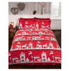 Reindeer Road Brushed Cotton Christmas Double Duvet Cover Set - Red