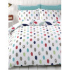 Lulu Floral King Size White Blue Red Duvet Cover Bedding Set