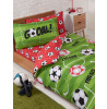 Football Red Single Duvet Cover and Pillowcase Set