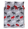 Moose Brushed Cotton Single Duvet Cover Set - Grey