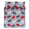 Moose Brushed Cotton King Duvet Cover Set - Grey