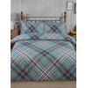 Tartan Brushed Cotton King Duvet Cover Set - Duck Egg