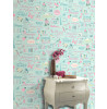Rasch Inspirations Wallpaper - Teal and Pink 216714 Feature Wall