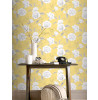 Boutique Floral Wallpaper Yellow Rasch 226164 Feature Wall