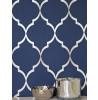 Navy Blue Fretwork Geometric Wallpaper