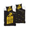 Completo copripiumino singolo in cotone nero e giallo Runners