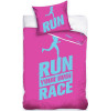 Runners Single Cotton Duvet Cover Set - Pink and Blue