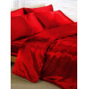 Red Satin Duvet Cover, Fitted Sheet and Pillowcases Bedding Set