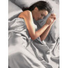 Silver Satin Duvet Cover, Fitted Sheet and Pillowcases Bedding Set