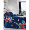 Alice Floral King Size Duvet Cover and Pillowcase Set - Navy and Pink