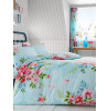 Alice Floral Double Duvet Cover and Pillowcase Set - Turquoise and Pink