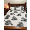 Set copripiumino e federa doppio gattino grigio