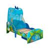 Cama de dinosaurio para niños pequeños con almacenamiento, dosel y colchón con muelles