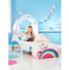 Cama para niños pequeños Unicorn Rainbow con almacenamiento y dosel sobre cama y colchón completamente suspendido