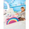Cama junior para niños pequeños Unicorn Rainbow con almacenamiento y dosel más colchón completamente suspendido
