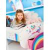 Cama para niños pequeños Unicorn Rainbow con almacenamiento y dosel para tiendas de campaña