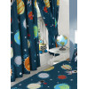 "Solar System Planets & Space Lined Curtains 54"" Drop"