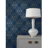 Navy Blue and Gold Metro Diamond Geometric Wallpaper WOW003