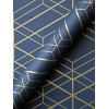 Metro Navy Blue and Gold Diamond Geometric Wallpaper WOW003