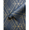 Diamond Geometric Metro Wallpaper Navy Blue and Gold WOW003