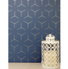 WOW005 Illusion Metro Geometric Wallpaper Navy Blue and Gold