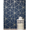 Navy and Gold Metro Prism Geometric Triangle Wallpaper WOW008
