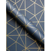 Prism Metro Geometric Triangle Wallpaper Navy and Gold WOW008
