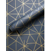 Triangle Metro Prism Geometric Wallpaper Navy and Gold WOW008