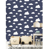 Clouds Wallpaper Navy / White World of Wallpaper A618 CAO 4