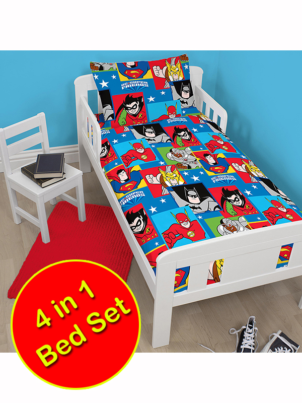 DC Super Friends Buddies 4 in 1 Junior Bedding Bundle Duvet Pillow