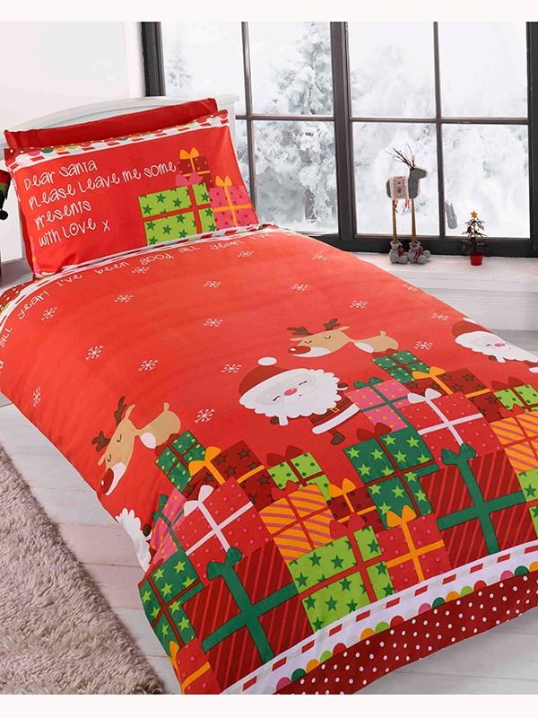 dear santa christmas single duvet cover and pillowcase set
