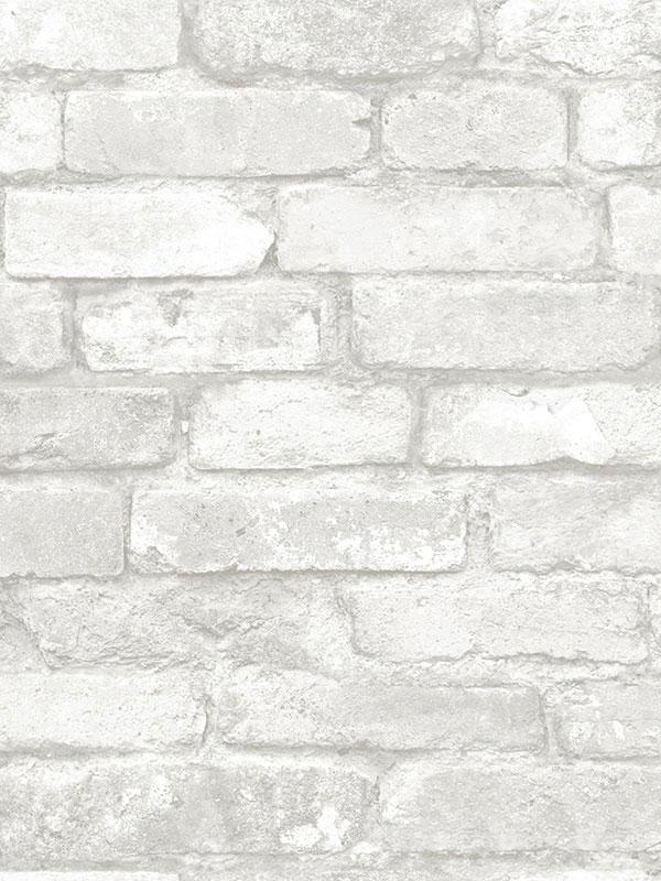 Nuwallpaper Grey And White Brick Peel And Stick Wallpaper Fine Decor
