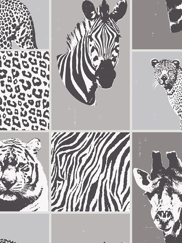 Price Right Home Safari Animals Wallpaper Grey Fine Decor FD41919