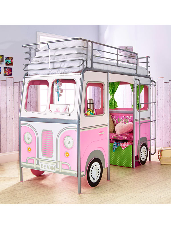 DeVan Mid Sleeper Single Camper Van Bed Pink