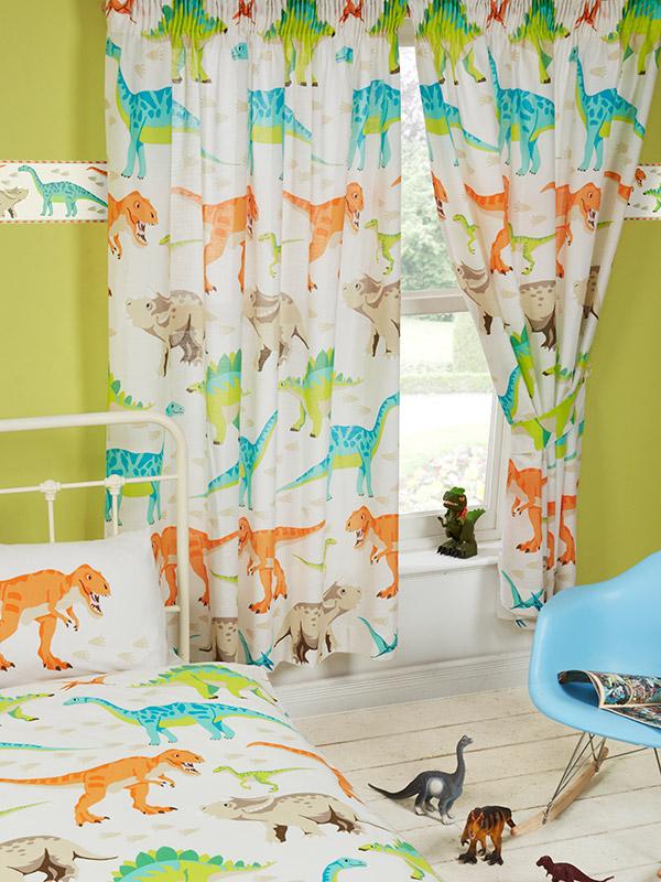 Dinosaur World Lined Curtains