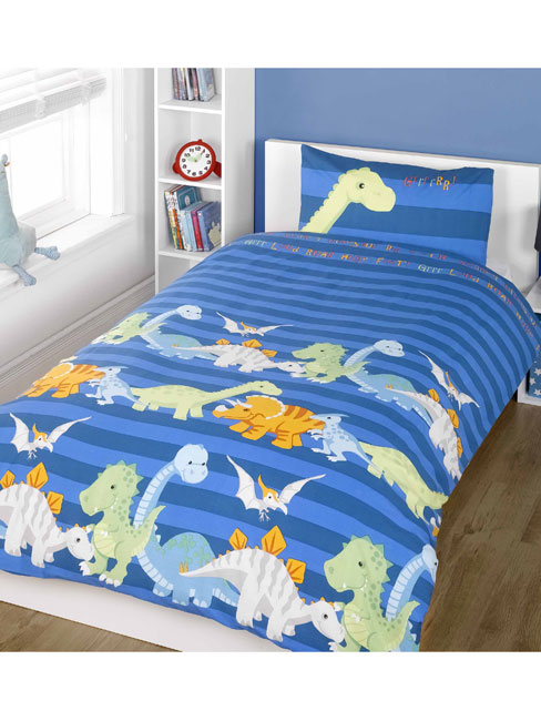 dinosaurs single duvet cover and pillowcase set  blue