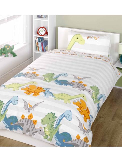dinosaurs single duvet cover and pillowcase set  natural