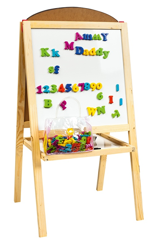 Double Sided Black and White Board Table Easel with Magnetic Letters