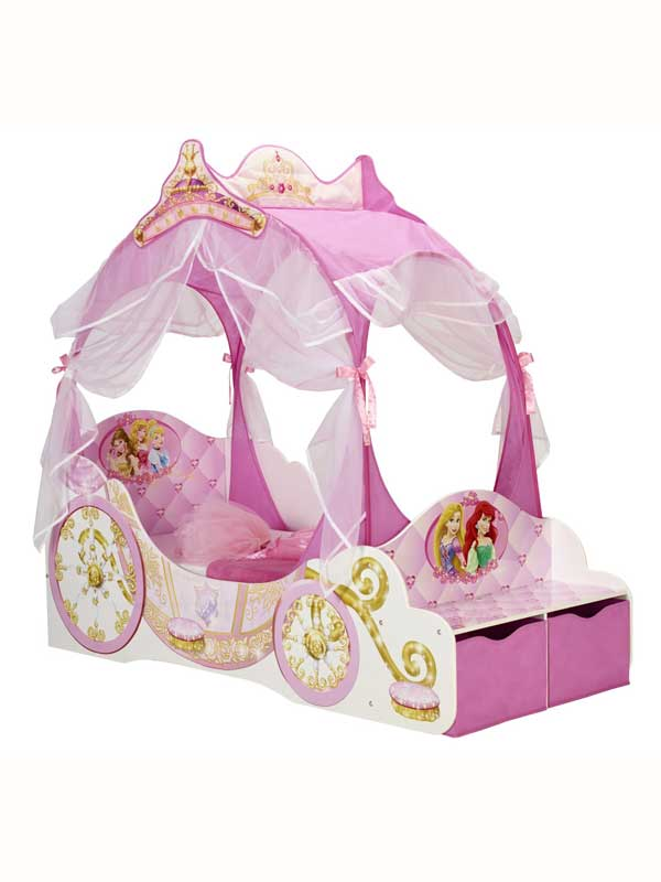 Disney Princess Carriage Toddler Bed With Sprung Mattress and Storage