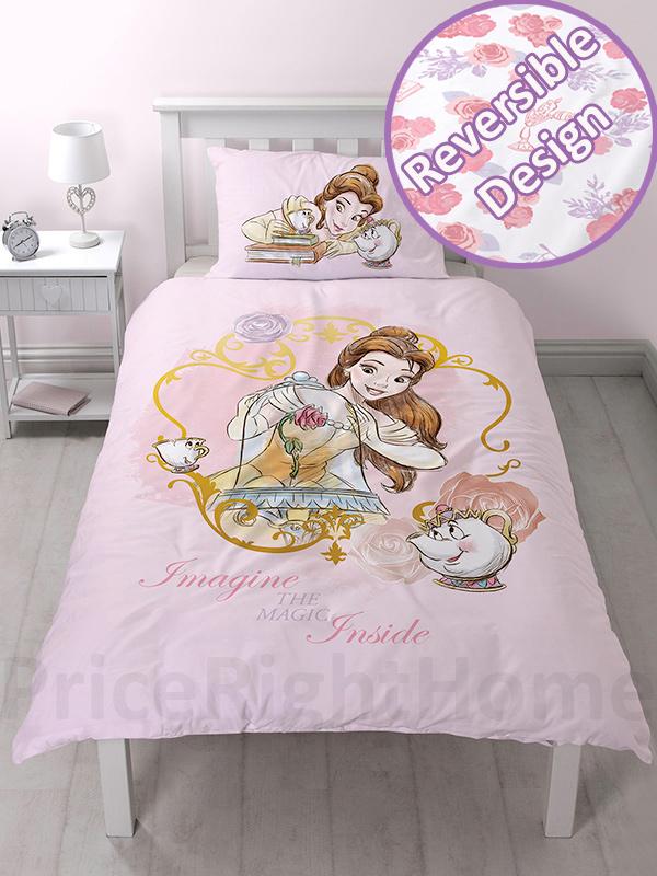 disney princess belle imagine single duvet cover and pillowcase set