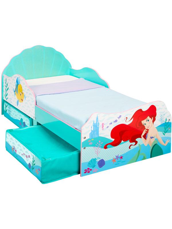 Disney Princess Ariel Toddler Bed With Sprung Mattress and Storage