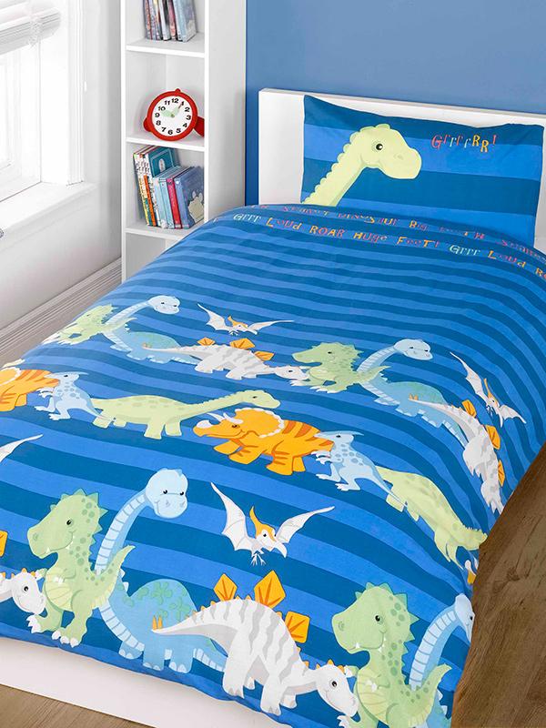 Dinosaurs Single Duvet Cover and Pillowcase Set - Blue