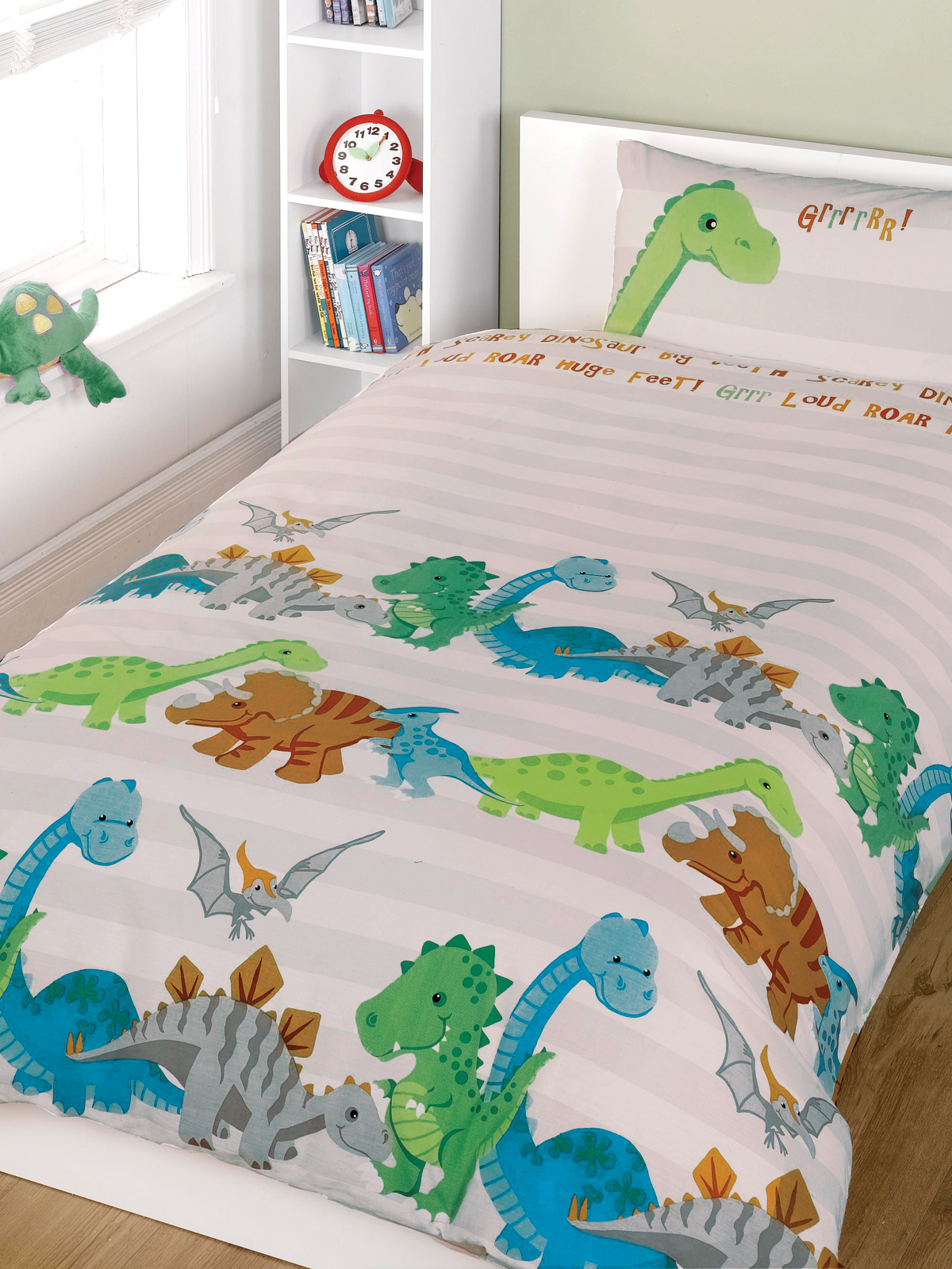 Dinosaurs Natural 4 in 1 Junior Bedding Bundle (Duvet and Pillow and