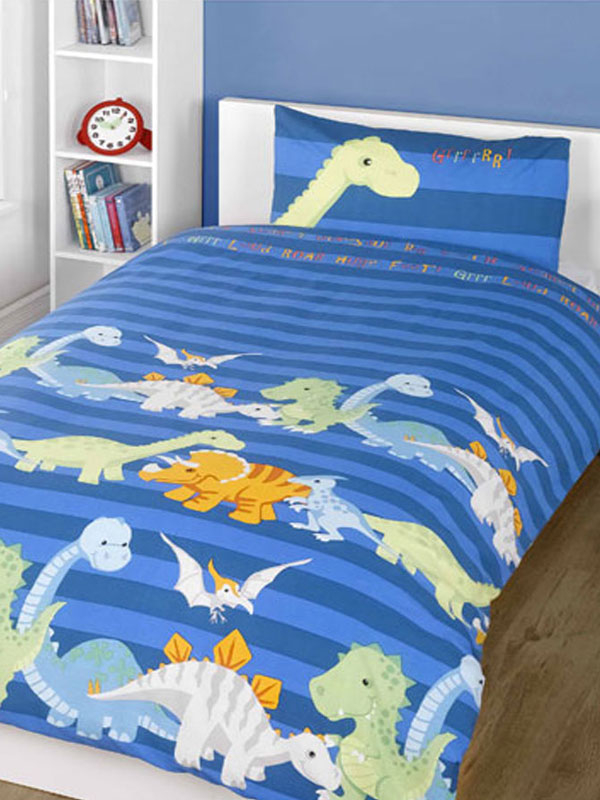 Dinosaurs Blue 4 in 1 Junior Bedding Bundle (Duvet and Pillow and