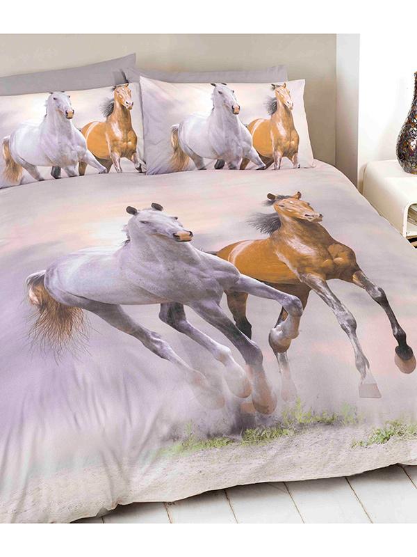 Galloping Horses Single Duvet Cover and Pillowcase Set